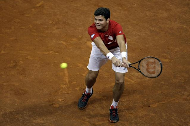 Canada's Milos Raonic returns a ball to Serbia's Novak Djokovic during their Davis Cup semifinals tennis match in Belgrade, Serbia, Sunday, Sept. 15, 2013. (AP Photo/ Marko Drobnjakovic)