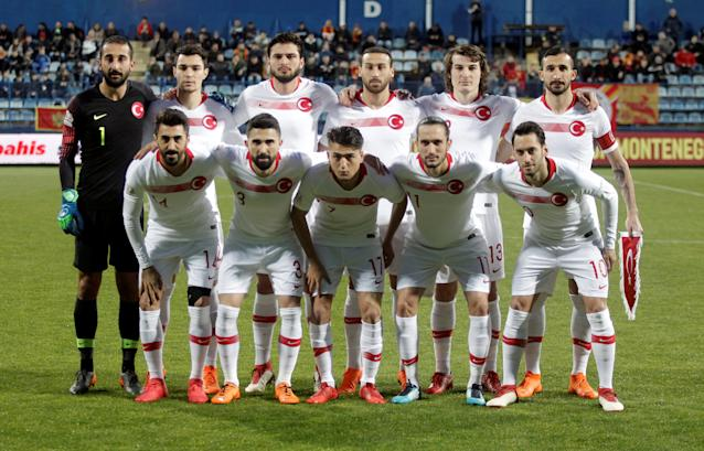 Soccer Football - International Friendly - Montenegro vs Turkey - Podgorica City Stadium, Podgorica, Montenegro - March 27, 2018 Turkey players pose for a team group photo before the match REUTERS/Stevo Vasiljevic