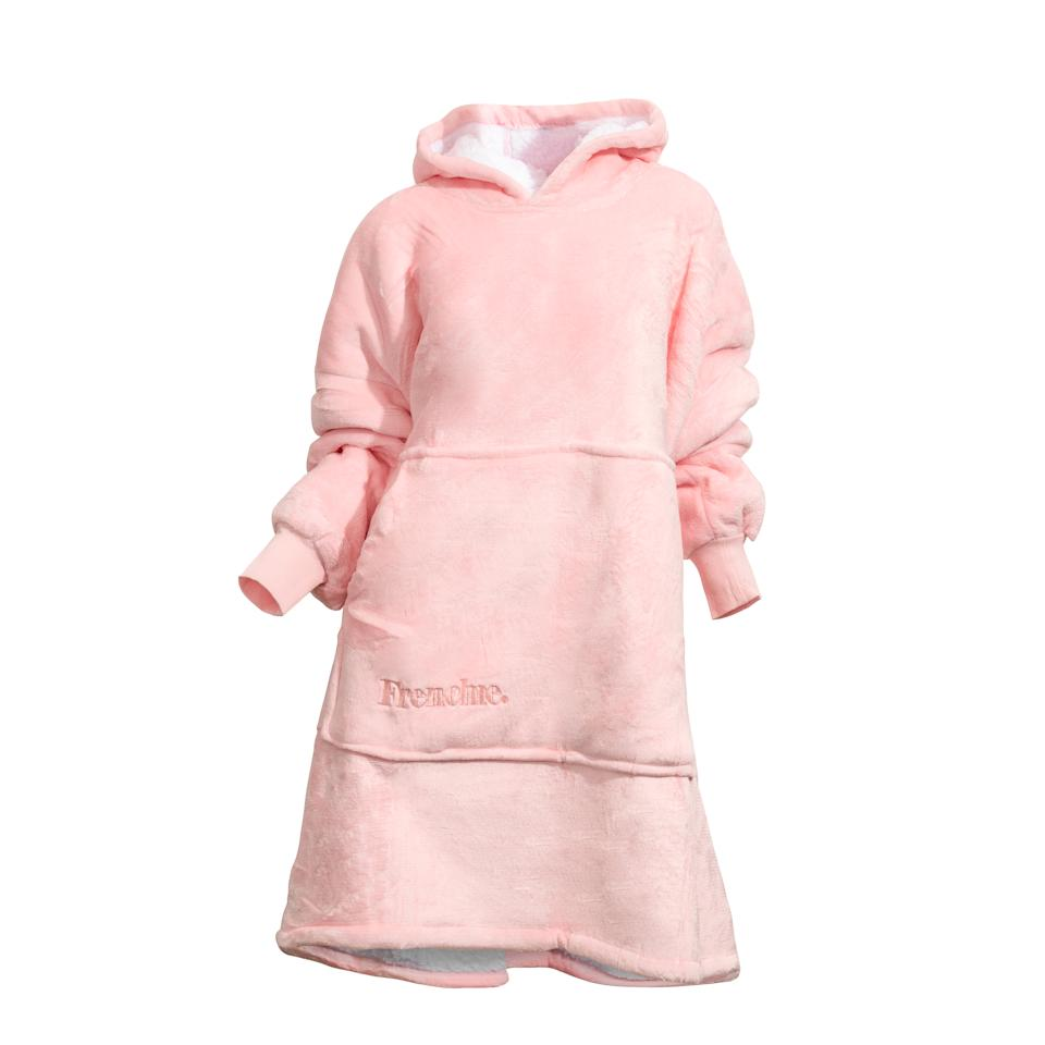 Pink Frenchie hooded blanket