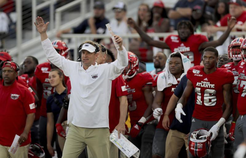 Florida Atlantic head coach Lane Kiffin celebrates his team's final touchdown during an NCAA college football game against UAB for the Conference USA championship, Saturday, Dec. 7, 2019, in Boca Raton, Fla. (Mike Stocker/South Florida Sun-Sentinel via AP)