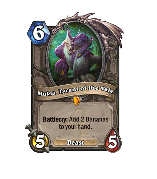 """<p>Mukla is back, and this time he's pissed — and selfish. Whereas old <a href=""""http://hearthstone.gamepedia.com/King_Mukla"""" rel=""""nofollow noopener"""" target=""""_blank"""" data-ylk=""""slk:Mukla"""" class=""""link rapid-noclick-resp"""">Mukla</a> gave away his bananas, new Mukla prefers to keep them for himself. </p>"""