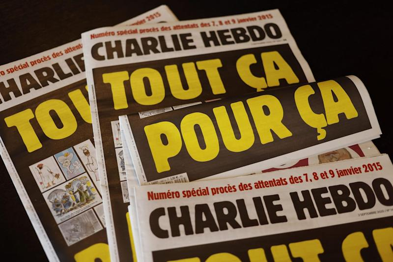 The latest issue of Charlie Hebdo printed in the lead up to the trial (Getty Images)