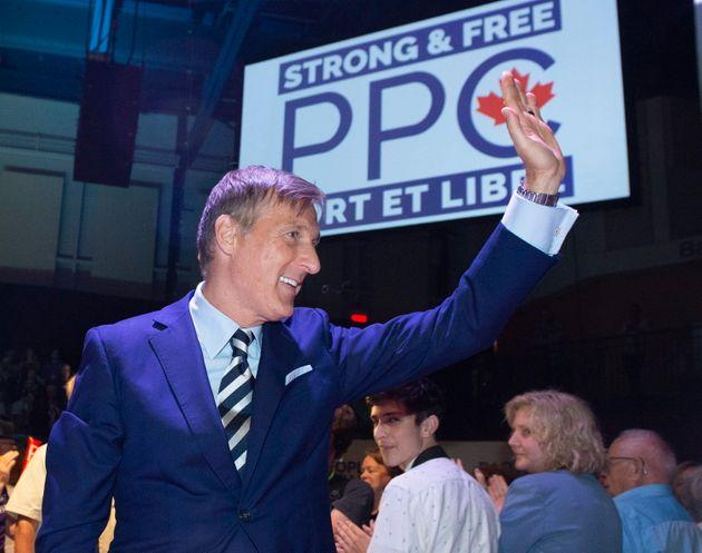 Maxime Bernier, leader of the People's Party of Canada, waves to supporters at the launch of his campaign on Aug. 25, 2019.