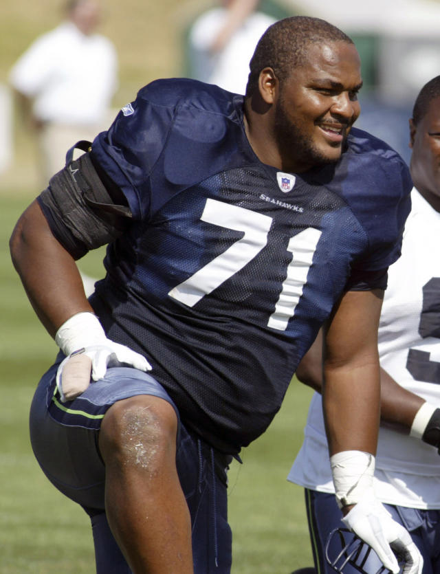 FILE - In this Aug. 15, 2006, file photo, Seattle Seahawks offensive tackle Walter Jones smiles along the sidelines during NFL football training camp at Eastern Washington University in Cheney, Wash. Jones was elected to the Pro Football Hall of Fame on Saturday, Feb. 1, 2014. (AP Photo/Jim Bryant, File)