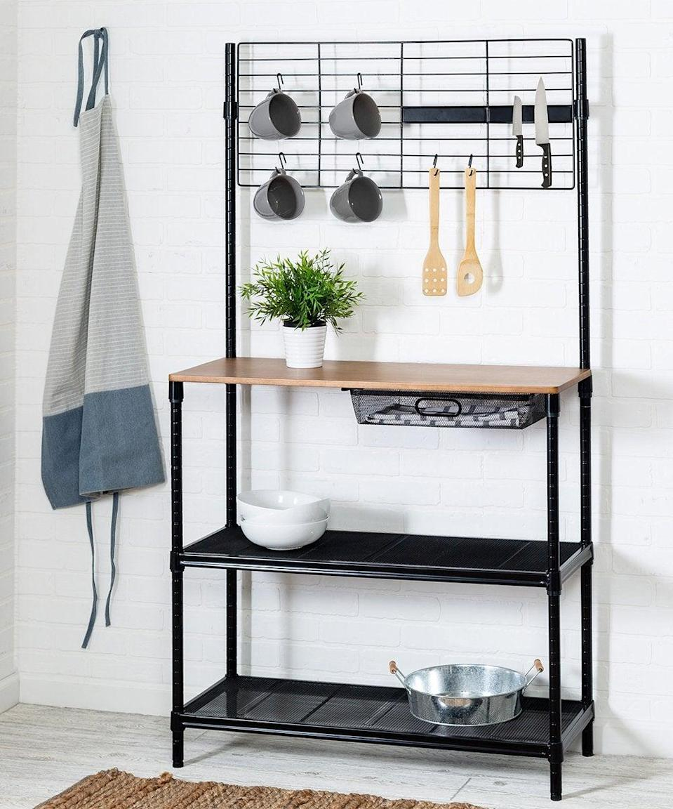 """<h2>Honey Can Do Black Bar Cart</h2><br>Store your pots, kitchen utensils, and pans away while also having a shelf for food prep, bowls, and cutesy decor items in your kitchen area. <br><br><strong>Honey Can Do</strong> Black Bar Cart, $, available at <a href=""""https://go.skimresources.com/?id=30283X879131&url=https%3A%2F%2Fwww.zulily.com%2Fp%2Fblack-bar-cart-447038-70931366.html"""" rel=""""nofollow noopener"""" target=""""_blank"""" data-ylk=""""slk:Zulily"""" class=""""link rapid-noclick-resp"""">Zulily</a>"""