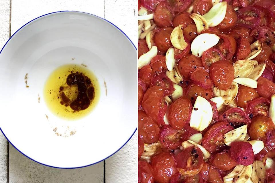 A simple noodle sauce (left) and roasted cherry tomatoes with garlic (right).
