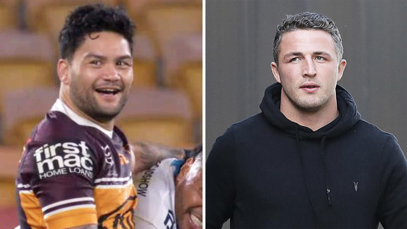 Isaac Luke (pictured left) sharing a laugh with the Titans and Sam Burgess' (pictured right) walking.