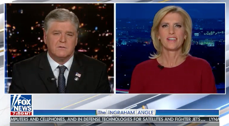 Sean Hannity hands over to Laura Ingraham at the end of his show on Fox News on 2 February 2021 (Fox News)