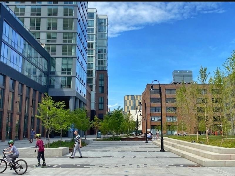 Someday, the new 1-acre plaza on Hoboken's west side can host markets and festivals.