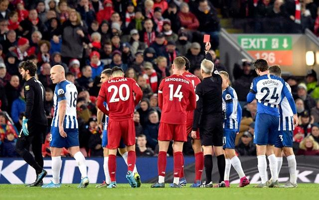 Alisson is given a red card (Anthony Devlin/PA)
