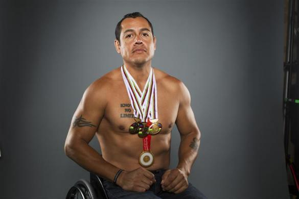 Paralympic cyclist Oz Sanchez poses for a portrait during the 2012 U.S. Olympic Team Media Summit in Dallas, May 15, 2012.