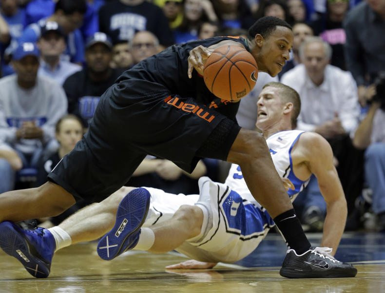 Miami's Kenny Kadji dribbles the ball as Duke's Mason Plumlee falls to the floor during the first half of an NCAA college basketball game in Durham, N.C., Saturday, March 2, 2013. (AP Photo/Gerry Broome)