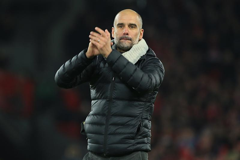 LIVERPOOL, ENGLAND - NOVEMBER 10: Pep Guardiola, Manager of Manchester City applauds fans following his team's defeat in the Premier League match between Liverpool FC and Manchester City at Anfield on November 10, 2019 in Liverpool, United Kingdom. (Photo by Tom Flathers/Manchester City FC via Getty Images)