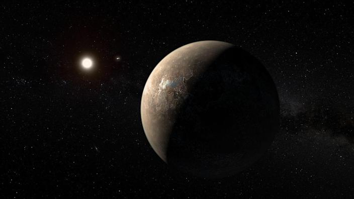 """<p><a href=""""https://www.popularmechanics.com/space/deep-space/a26365/probing-atmospheres-alien-life/"""" rel=""""nofollow noopener"""" target=""""_blank"""" data-ylk=""""slk:Proxima Centauri b"""" class=""""link rapid-noclick-resp"""">Proxima Centauri b</a> orbits Earth's closest stellar neighbor, Proxima Centauri, just 4.22 light-years away. It has a mass of 1.27 Earths and orbits its star every 11.2 days. Scientists announced the exoplanet in 2016.</p>"""
