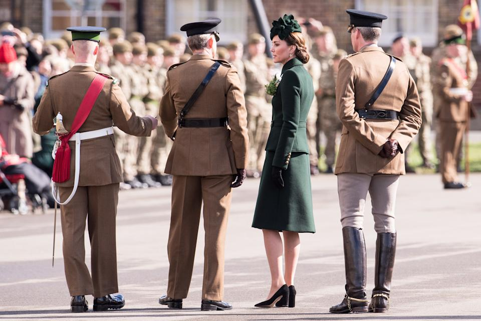 """<h1 class=""""title"""">The Duke And Duchess Of Cambridge Attend The Irish Guards St Patrick's Day Parade</h1><cite class=""""credit"""">Jeff Spicer</cite>"""