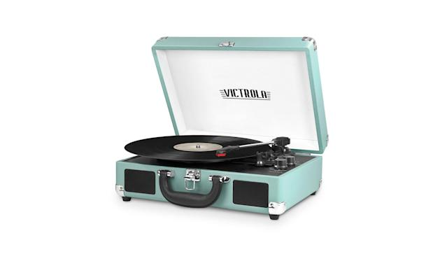 "<p>Vintage three-speed Bluetooth suitcase turntable with speakers, $50,<a href=""https://www.amazon.com/dp/B01MQ2RBTZ/ref=twister_B0765YSCNB?_encoding=UTF8&th=1"" rel=""nofollow noopener"" target=""_blank"" data-ylk=""slk:amazon.com"" class=""link rapid-noclick-resp""> amazon.com</a> </p>"