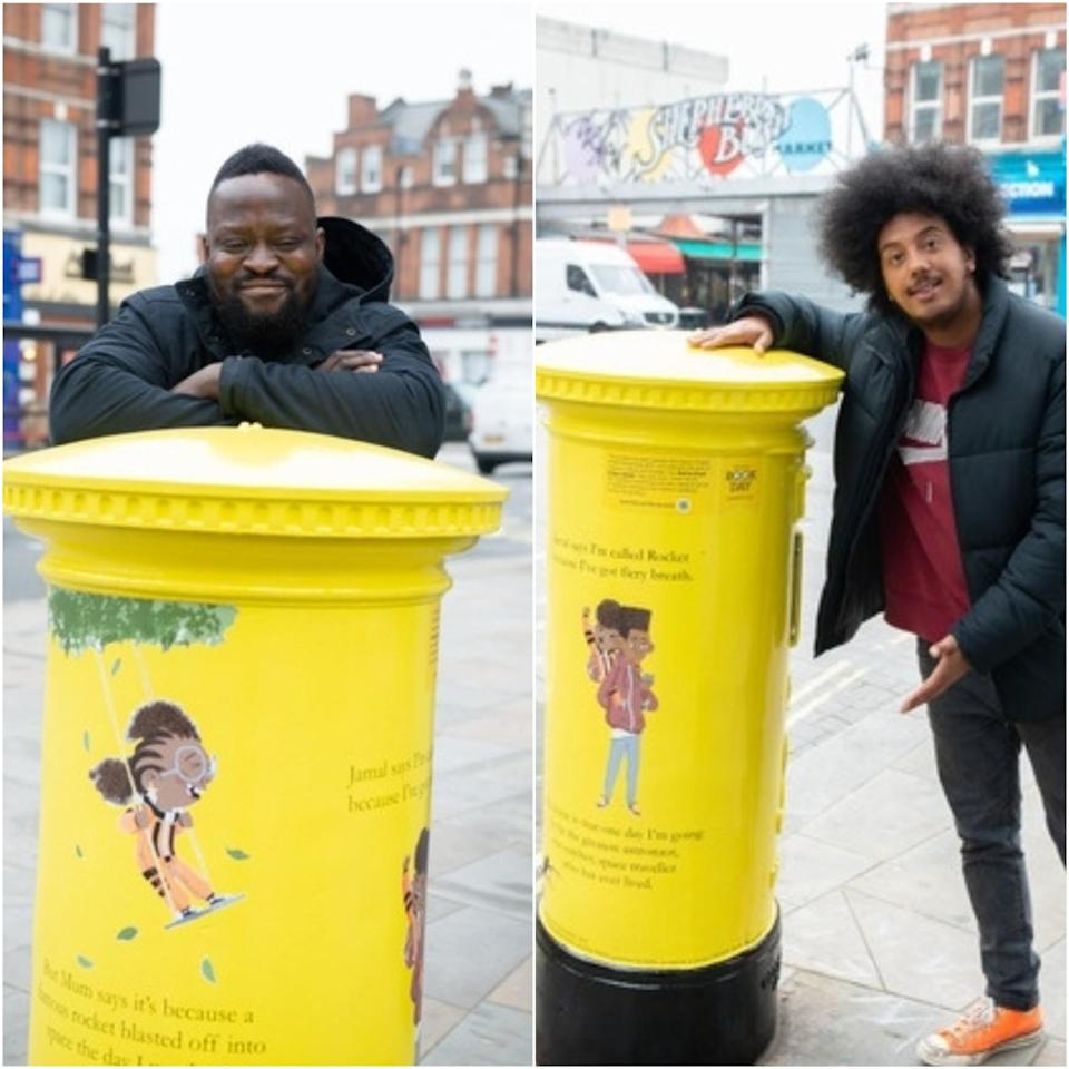 Waterstone's Children's Book Of The Year winners Nathan Bryon and Dapo Adeola with their commemorative post box in London's Shepherd's Bush (Royal Mail/PA)