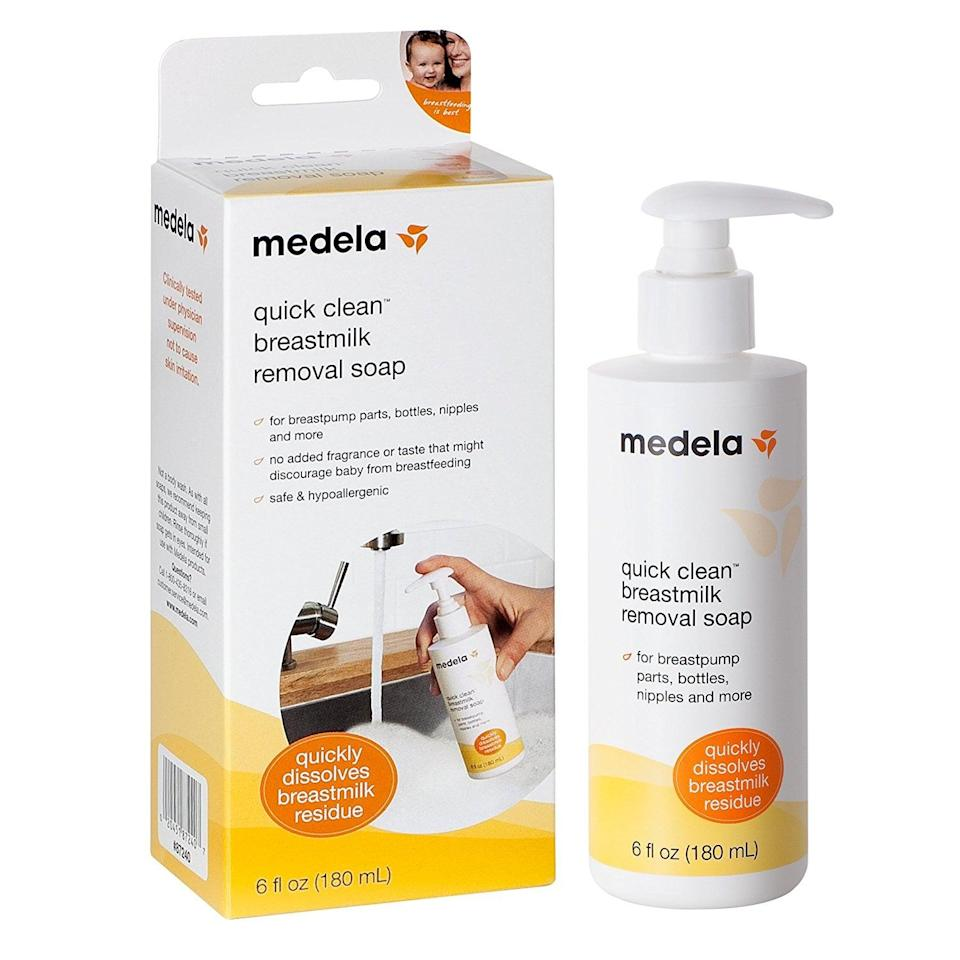 <p>Breast milk can get thick and greasy, so you'll want something that makes cleanup a breeze, like the <span>Medela Quick Clean Breastmilk Removal Soap</span> ($6, originally $8).</p>