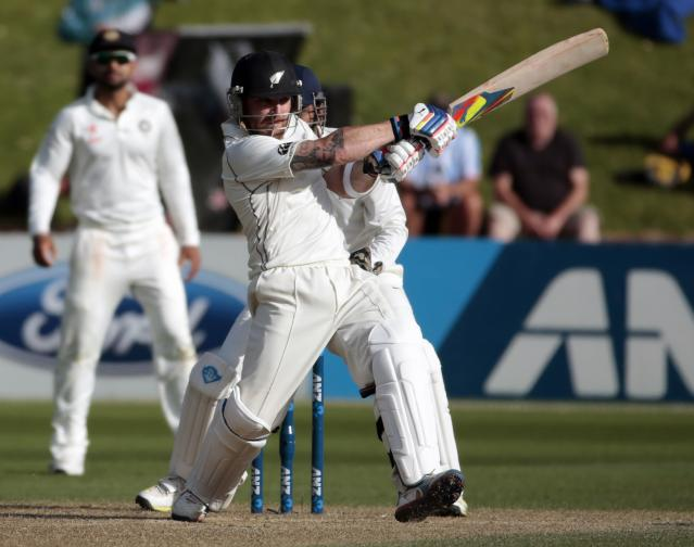 New Zealand's Brendon McCullum plays a shot against India during the second innings on day four of the second international test cricket match at the Basin Reserve in Wellington, February 17, 2014. REUTERS/Anthony Phelps (NEW ZEALAND - Tags: SPORT CRICKET)