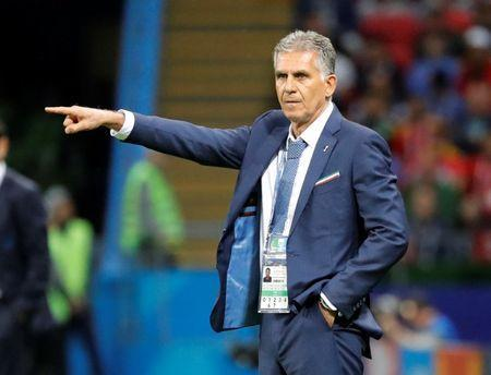 Soccer Football - World Cup - Group B - Iran vs Spain - Kazan Arena, Kazan, Russia - June 20, 2018 Iran coach Carlos Queiroz gestures REUTERS/Toru Hanai
