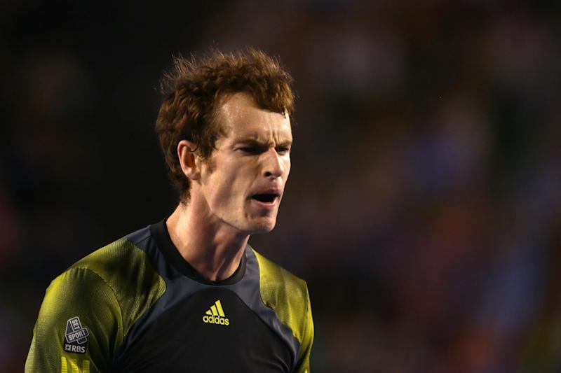 Britain's Andy Murray reacts during his semifinal win over Switzerland's Roger Federer at the Australian Open tennis championship in Melbourne, Australia, Friday, Jan. 25, 2013. (AP Photo/Mark Kolbe,Pool)