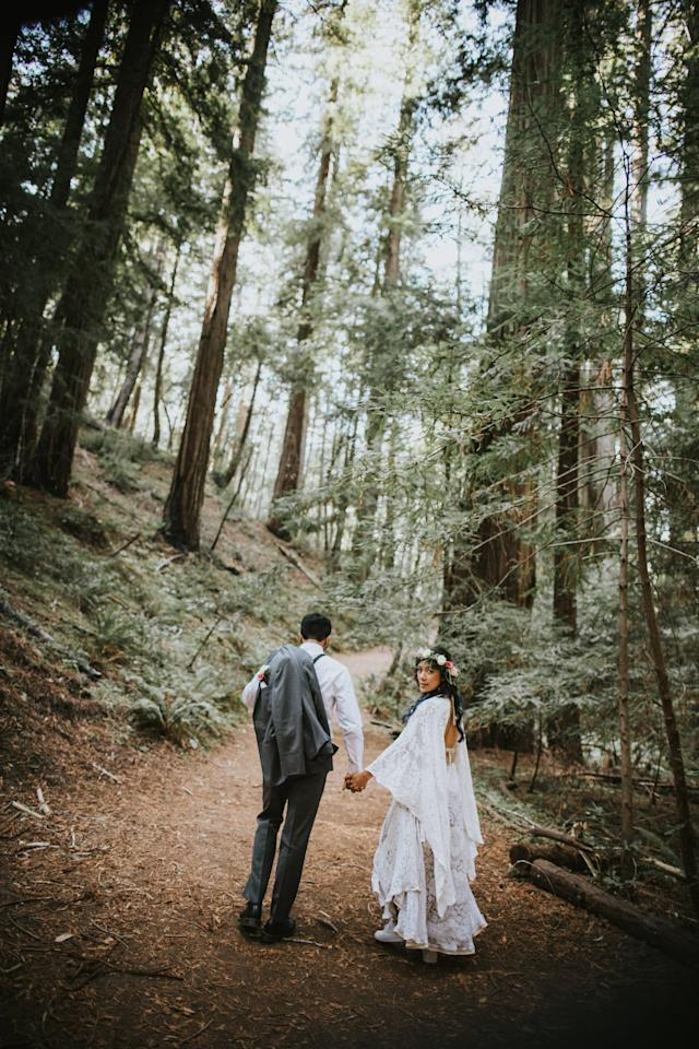 <p>Because it was a 15-minute hike out to the clearing in Montgomery Woods State Natural Reserve near Mendocino, CA, where our ceremony was, I tossed on a pair of white Reeboks so I wouldn't have to worry about tripping on my heels (and potentially giving myself a bloody nose). </p>