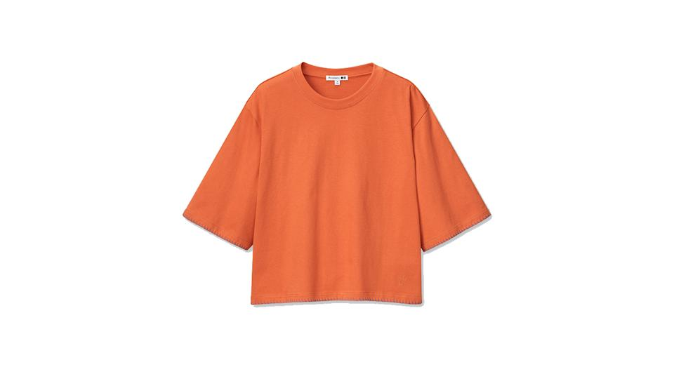 JW ANDERSON COTTON BLANKET STITCHED HALF SLEEVED T-SHIRT