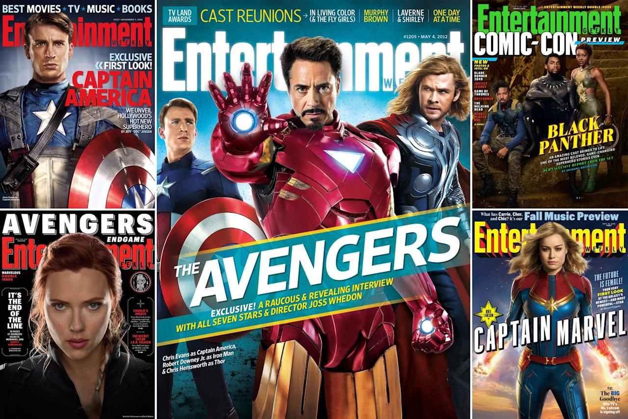 """<p>The Marvel Cinematic Universe first blasted off in 2008 with <em>Iron Man</em>, and in the years since the superheroic stars of the blockbuster franchise have appeared on the cover of <em>Entertainment Weekly</em>on numerous occasions. Be sure to <a href=""""https://ew.com/movies/2020/03/10/scarlett-johansson-black-widow-cover/"""">read our latest story for <em>Black Widow</em></a>, and stay here to check out the rest of Earth's Mightiest Heroes' cover appearances.</p>"""