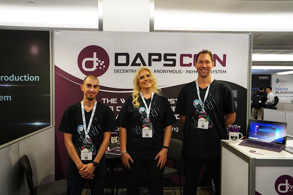 DAPS Coin team. CEO Adel de Meyer (center) and CTO Andrew Huntley spoke to CCN for this article. | Source: DAPS Coin