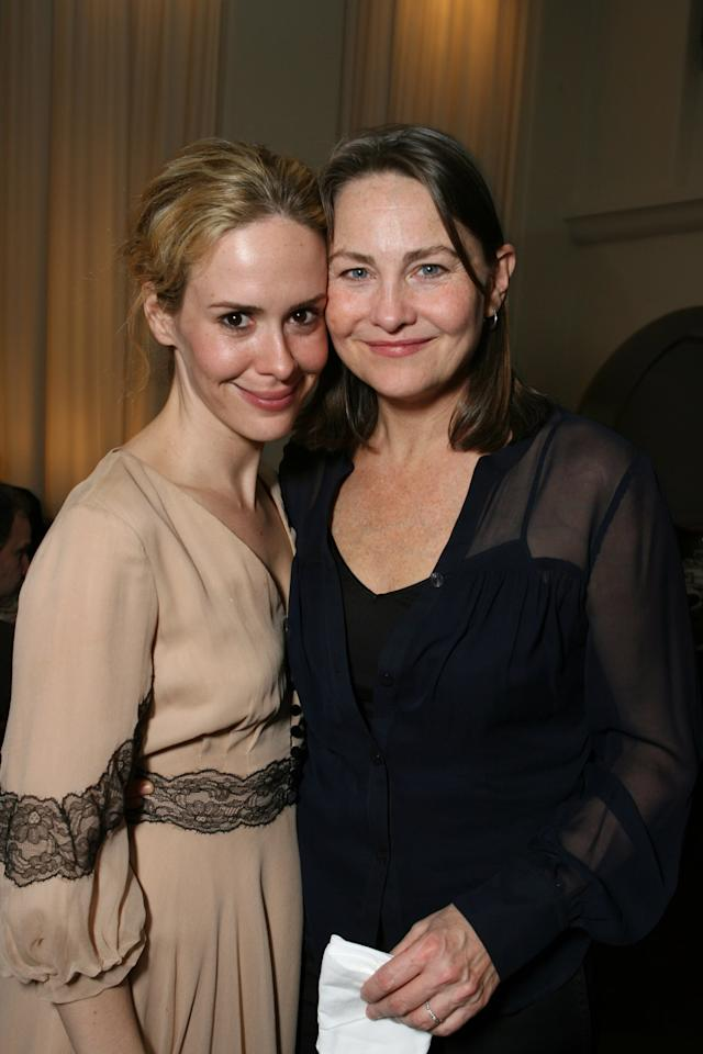 """<p>Sarah and Cherry Jones confirmed their relationship in 2005, when they celebrated Cherry's Tony Award win <a href=""""http://www.youtube.com/watch?v=I7GRQ8qYHWM"""" target=""""_blank"""" class=""""ga-track"""" data-ga-category=""""internal click"""" data-ga-label=""""http://www.youtube.com/watch?v=I7GRQ8qYHWM"""" data-ga-action=""""body text link"""">with a televised kiss</a>. It goes without saying, <a href=""""http://pridesource.com/article/74091-2/"""" target=""""_blank"""" class=""""ga-track"""" data-ga-category=""""internal click"""" data-ga-label=""""http://pridesource.com/article/74091-2/"""" data-ga-action=""""body text link"""">they were in love</a>. But, Sarah had just landed her first big TV part and looking back, admits<a href=""""http://www.gaystarnews.com/article/sarah-paulson-admits-got-nervous-career-kissing-cherry-jones-tonys/"""" target=""""_blank"""" class=""""ga-track"""" data-ga-category=""""internal click"""" data-ga-label=""""http://www.gaystarnews.com/article/sarah-paulson-admits-got-nervous-career-kissing-cherry-jones-tonys/"""" data-ga-action=""""body text link""""> she was nervous the kiss would backfire on her career.</a></p> <p>Rumors began to surface that the duo had split when Cherry didn't thank Sarah in her 2009 Emmys speech. Shortly thereafter, Cherry told <strong>US Magazine</strong> that after seven years together, <a href=""""http://www.usmagazine.com/celebrity-news/news/sarah-paulson-and-cherry-jones-2009910/"""" target=""""_blank"""" class=""""ga-track"""" data-ga-category=""""internal click"""" data-ga-label=""""http://www.usmagazine.com/celebrity-news/news/sarah-paulson-and-cherry-jones-2009910/"""" data-ga-action=""""body text link"""">they had broken up</a>: """"It's the happiest break up that's ever been. We grew so much together and now we can send each other off with a kiss and great love."""" </p>"""