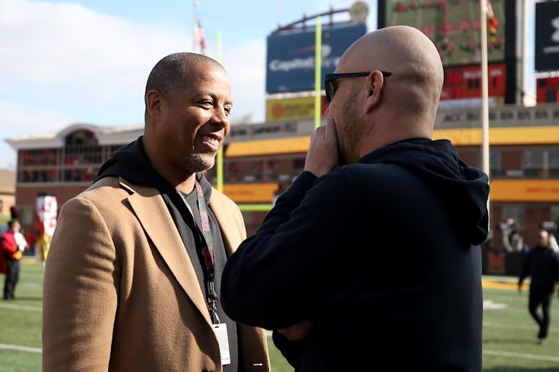 COLLEGE PARK, MD - NOVEMBER 17: University of Maryland athletic director Damon Evans and interim head coach Matt Canada of the Maryland Terrapins speak prior to the game against the Ohio State Buckeyes at Capital One Field on November 17, 2018 in College Park, Maryland. (Photo by Will Newton/Getty Images)