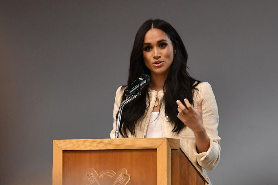 LONDON, ENGLAND - MARCH 06: Meghan, Duchess of Sussex speaks during a special school assembly at the Robert Clack Upper School in Dagenham ahead of International Women's Day (IWD) held on Sunday 8th March, on March 6, 2020 in London, England.   (Photo by Ben Stansall-WPA Pool/Getty Images)