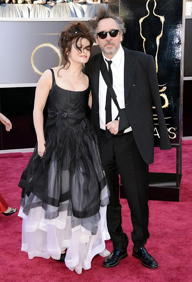 Helena Bonham Carter and Tim Burton arrive at the Oscars in Hollywood, California, on February 24, 2013.