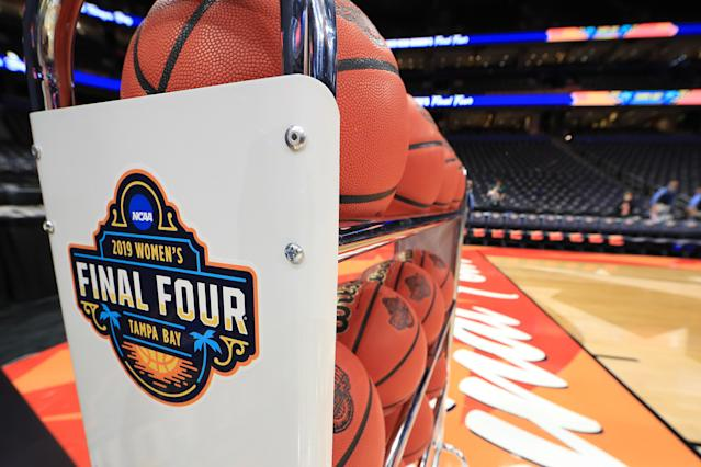 A view of the Final Four logo prior to the semifinals of a 2019 NCAA women's Final Four game between Baylor and Oregon on April 05, 2019. (Mike Ehrmann/Getty Images)