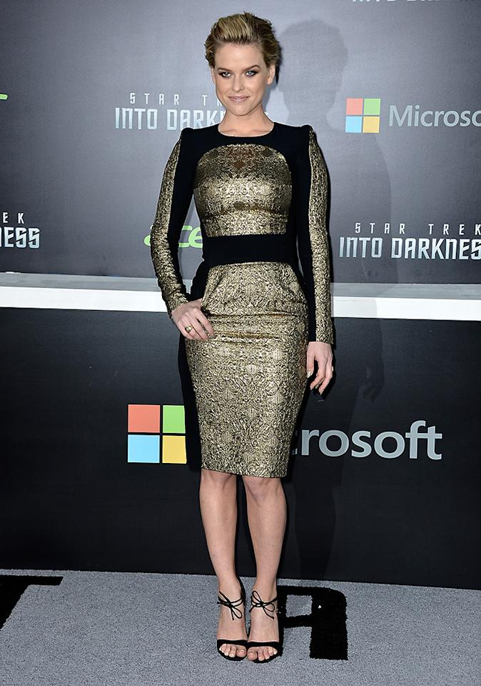 """HOLLYWOOD, CA - MAY 14:  Actress Alice Eve arrives at the premiere of Paramount Pictures' """"Star Trek Into Darkness"""" at Dolby Theatre on May 14, 2013 in Hollywood, California.  (Photo by Frazer Harrison/Getty Images)"""