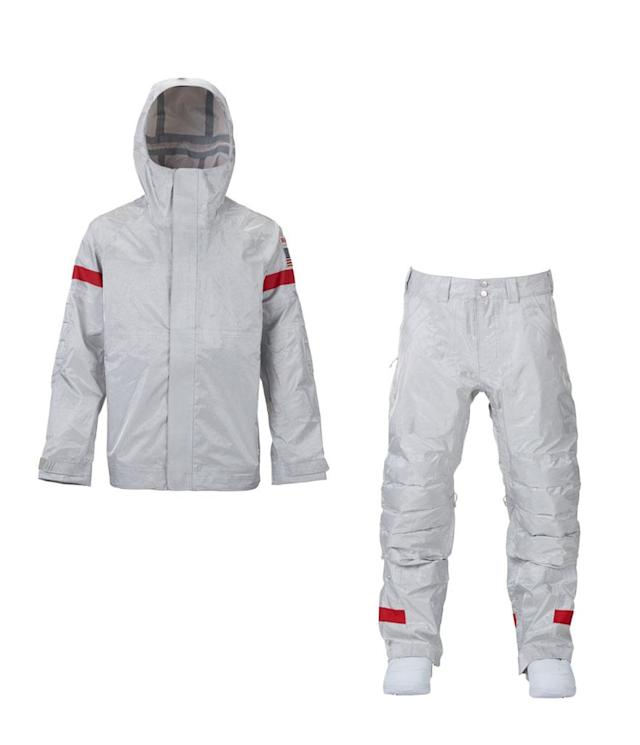 """<p>For the 2018 Olympics, Burton decided to develop a """"futuristic""""-style fabric made of actual aluminum. As a result, the competition jacket and pants have an iridescent silver color and makes the uniform lighter, waterproof, and resistant to light and sound. (Photo: courtesy of Burton) </p>"""