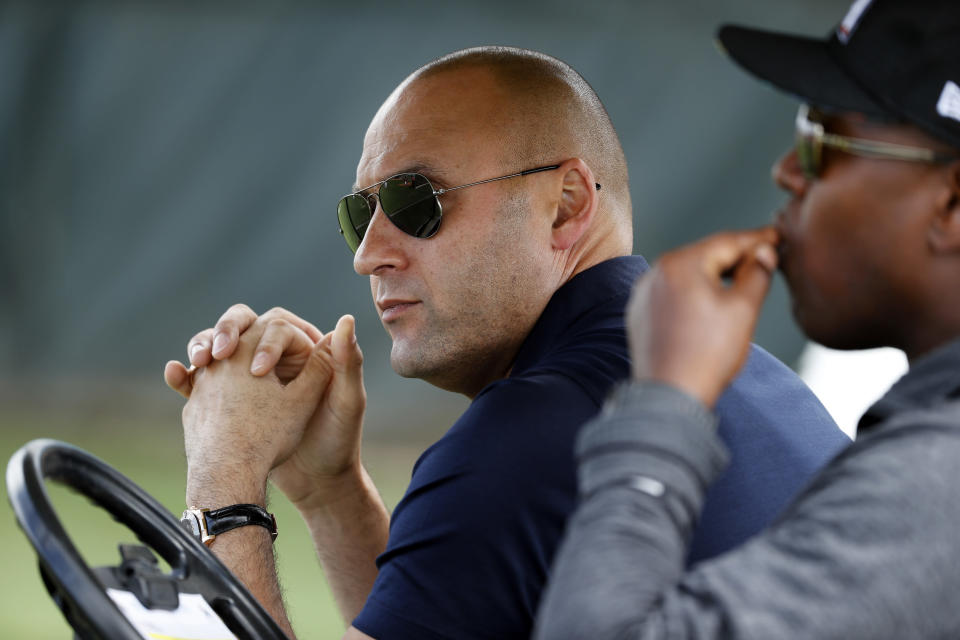 Derek Jeter and the rest of the Marlins ownership are claiming the team has corporate citizenship in the British Virgin Islands. (AP Photo)
