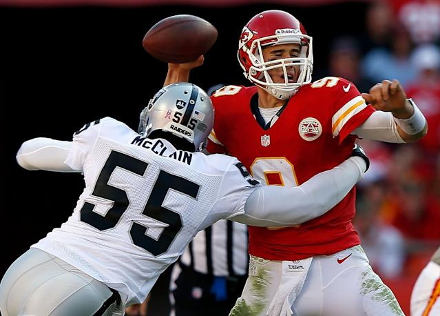 KANSAS CITY, MO - OCTOBER 28: Quarterback Brady Quinn #9 of the Kansas City Chiefs is sacked by middle linebacker Rolando McClain #55 of the Oakland Raiders during the game at Arrowhead Stadium on October 28, 2012 in Kansas City, Missouri. (Photo by Jamie Squire/Getty Images)