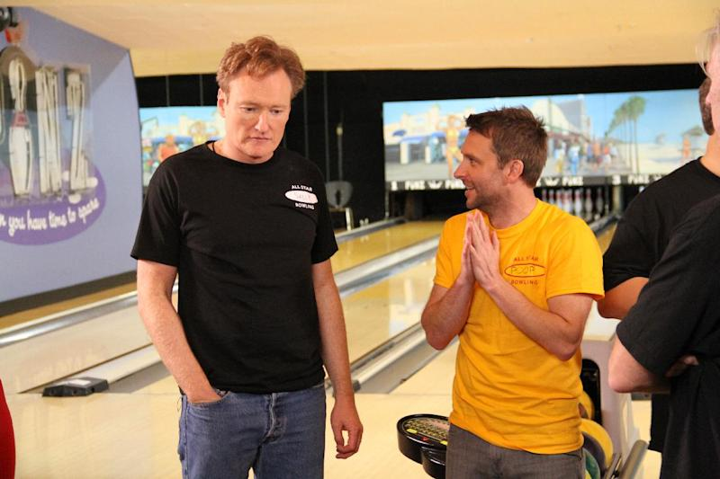 """This undated image released by the Nerdist Channel shows TV talk show host Conan O'Brien, left, and Chris Hardwick in """"All Star Celebrity Bowling."""" Nerdist began as a little weekly comedy podcast hosted by Hardwick and launched in 2010. It has grown to encompass a network of 21 podcasts, 27 YouTube shows and a growing TV presence. (AP Photo/Nerdist Channel)"""