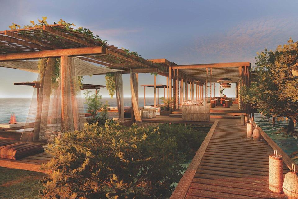 Guests will enjoy unspoiled horizon views from the overwater sunset bar at Six Senses Belize