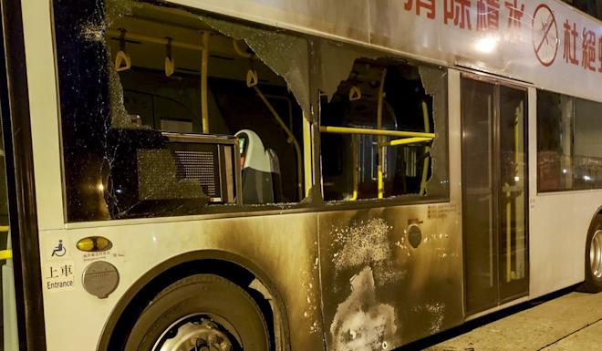 A double-decker bus was hit by a petrol bomb at a Tuen Mun depot. Photo: Handout