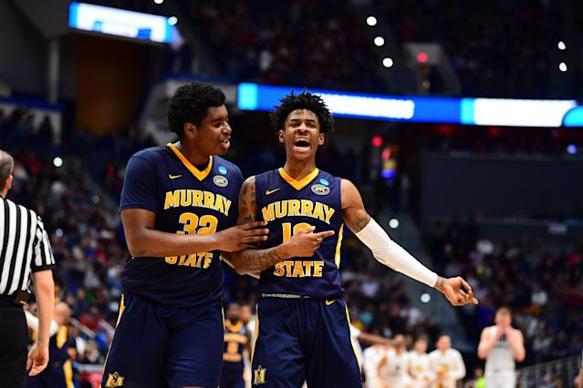 Murray State's Darnell Cowart #32 and Ja Morant #12 celebrate during the Racers' win over Marquette. (Getty)