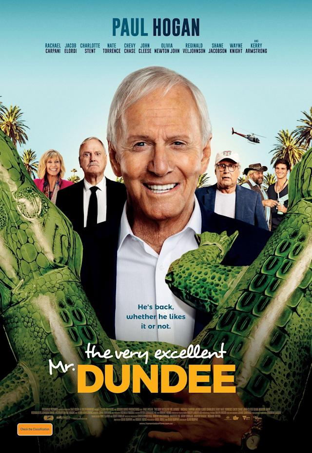 Hogan is joined by stars like John Cleese, Chevy Chase and Olivia Newton-John in <em>The Very Excellent Mr. Dundee</em>. (Photo: Piccadilly Pictures)