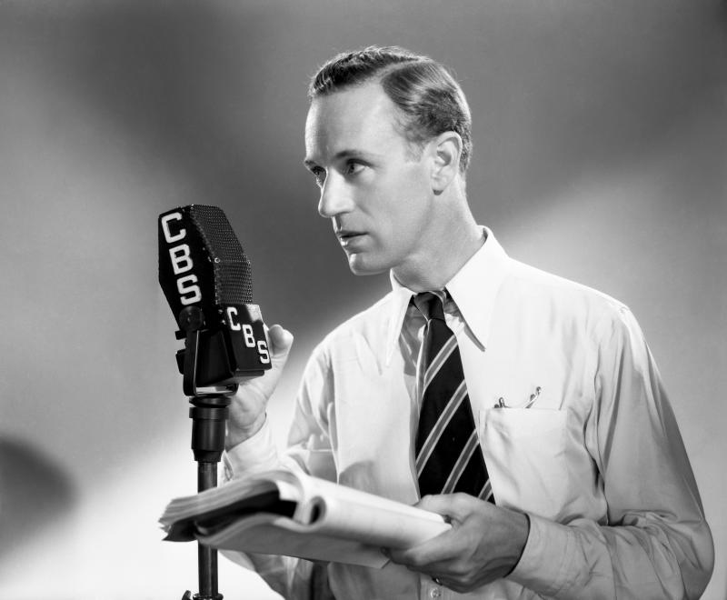 LOS ANGELES - JULY 1: Actor Leslie Howard reads the role of Benedick in Much Ado About Nothing on The Columbia Shakespeare Cycle, a CBS Radio cultural arts presentation featuring adaptations of various plays by William Shakespeare. Image dated: July 1, 1937, Hollywood, CA. (Photo by CBS via Getty Images)