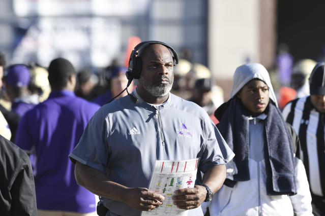 Alcorn State head coach Fred McNair watches as player line up for a play during the first half of an NCAA college football game against Jackson State in Jackson, Miss., Saturday, Nov. 23, 2019. (Courtland Wells/The Vicksburg Post via AP)