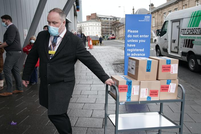 Supplies of a Covid-19 vaccine are delivered to the NHS vaccine centre that has been set up at the Centre for Life in Times Square, Newcastle. The centre is one of the seven mass vaccination centres now opened to the general public as the government continues to ramp up the vaccination programme against Covid-19.