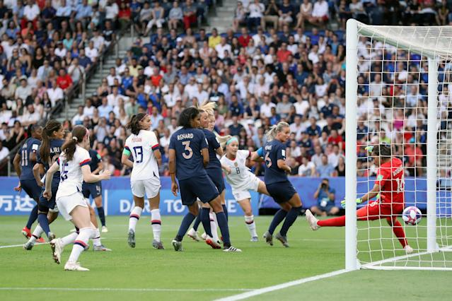 Megan Rapinoe of the USA (not in frame) scores her team's first goal during the 2019 FIFA Women's World Cup France Quarter Final match between France and USA at Parc des Princes on June 28, 2019 in Paris, France. (Photo by Alex Grimm/Getty Images)