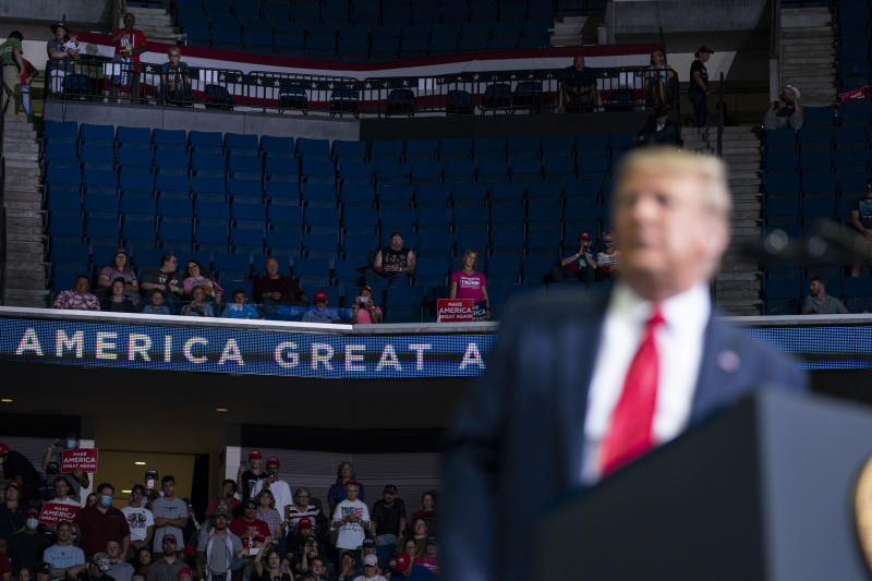 Supporters of President Donald Trump listen as he speaks to a campaign rally at the BOK Center, Saturday, June 20, 2020, in Tulsa, Okla. (Evan Vucci/AP Photo)
