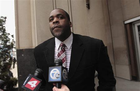 File of former Detroit Mayor Kwame Kilpatrick leaving the U.S. District Court after he was convicted on federal racketeering and other charges in Detroit, Michigan