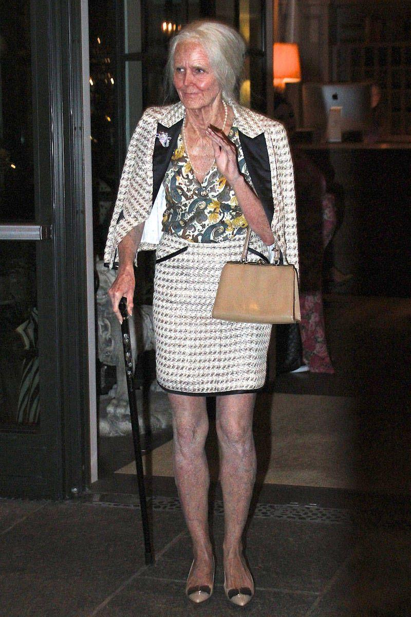 <p>As an 95-year-old version of herself at her 14th annual Halloween party in New York. </p>
